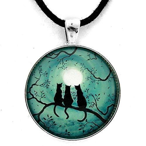 Three Black Cats Under a Full Moon Pendant on Zen Cord Necklace Teal Moon Handmade Halloween Jewelry -