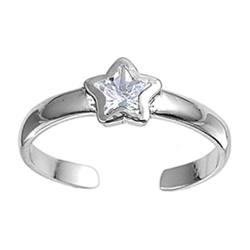 Adjustable Star Toe Ring Sterling Silver 925 Rhodium Plated Jewelry Beach Gift ()