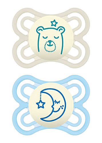 MAM Glow in The Dark Pacifiers, Baby Pacifier 0-6 Months, Best Pacifier for Breastfed Babies, Premium Comfort and Oral Care Perfect Collection, Boy, 2-Count