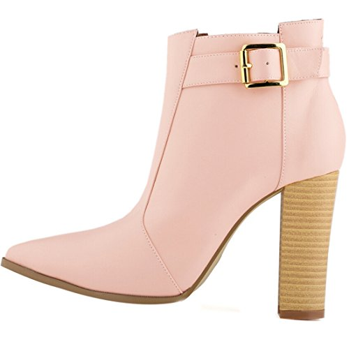 Bootie Solid ASVOGUE Pink Ankle Heel Chunky Women Fashion High q7wx7S0z