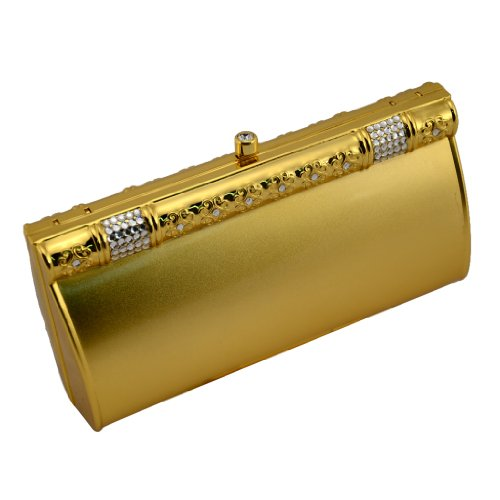 Scheilan BM 107/B Polished Gold Metal Clutch with Crystal Trim, Bags Central