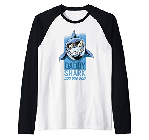 Mens Fathers Day Gift Idea Dad Present To Be Daddy Shark Do Doo Raglan Baseball Tee