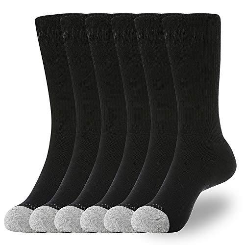 Mens' Crew Socks for Boots 6-Packs Cotton Full Cushion Socks Men Fit Shoes ()