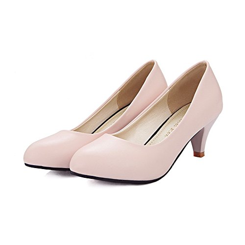 PU Absatz Pumps Zehe Rund auf Schuhe Ziehen Pink Mittler Damen VogueZone009 cq8wt0PcW