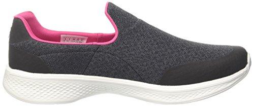Skechers Damen Go Walk 4 Slip On Sneaker Schwarz (Black/hot Pink)