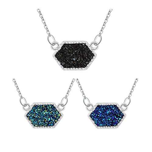 MissNity Girl's Pendant Necklace Faux Druzy Stone Silver Tone Black Green Blue Hexagon Charms Jewelry Set Birthday Gift for Her, 3 Pack (Silver+Black/Green/Blue)