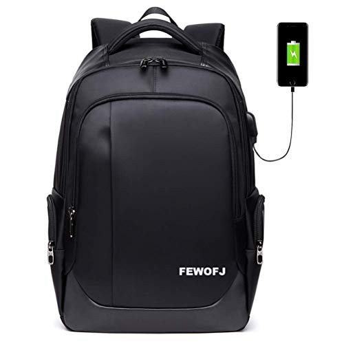 YHEGV Business Travel Laptop Backpack College Bookbag School Bag with USB Charging Port for Women & Men Fits for 15.6 Inch Computer Notebook Black