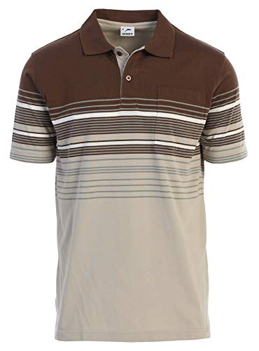 Striped Polo Shirt - Gioberti Mens Slim Fit Striped Polo Shirt with Pocket, Khaki, Medium