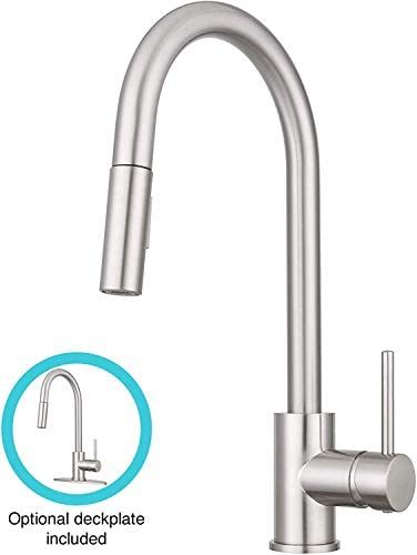 Dura Faucet RV Streamline Pull-Down Kitchen Faucet- Optional Deck Plate Brushed Satin Nickel