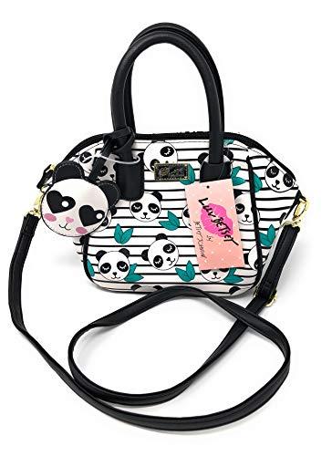 Luv Betsey Johnson Black/White Panda Leaves Striped Bag Satchel HOBO
