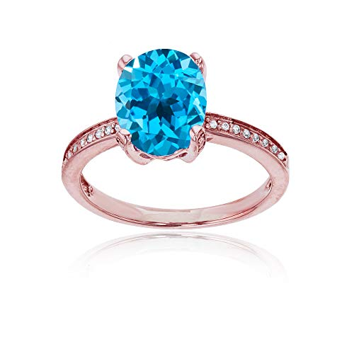 (Sterling Silver Rose 1mm Created White Sapphire Channel Set & 10x8 Oval Swiss Blue Topaz Engagement Ring )