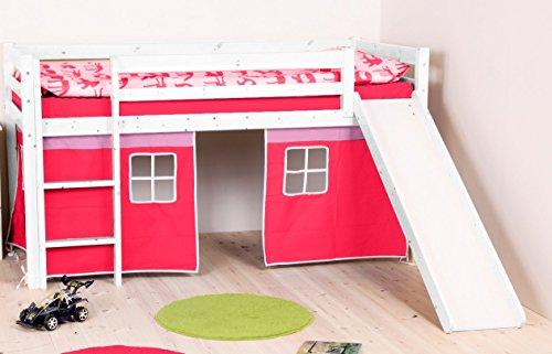 Flexa Loft Slide Bed with Bottom Curtains - Twin Size - White Wash Wood & Pink Curtains by Flexa for Kids