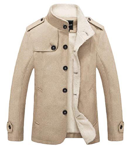 Manica Caldo Velluto Collare Di Lana Outwear Basamento Uomini Tasto Xinheo Del Color Lunga Cappotto Kaki qYnwIWt8Fa