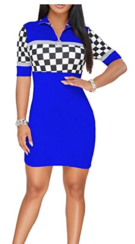 Cerniera Manica Bodycon Jaycargogo Blu Donne Clubwear Abiti Corta 6wAnqHT