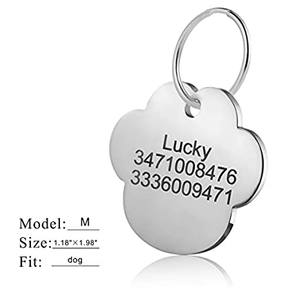 LYL Premium Engraved Personalised Pet Dog Cat Name ID Stainless Steel Tag Collar M, Heart