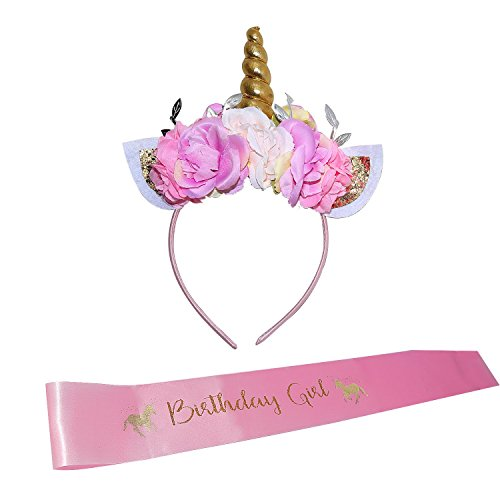 Unicorn Headband and Birthday Girl Set of Gold Glitter Unicorn Headband and Pink Satin Birthday Girl Sash Set | B4MBOO Happy Birthday Unicorn Party Supplies, Favors Decorations - 2018 New -