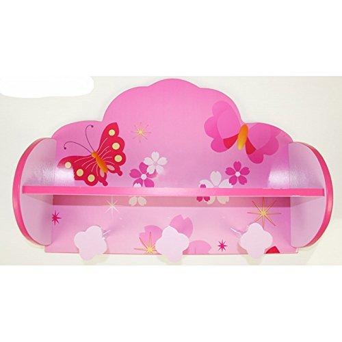 Porte manteau / étagère pour enfant motif papillon rose APE06029 Décoshop26