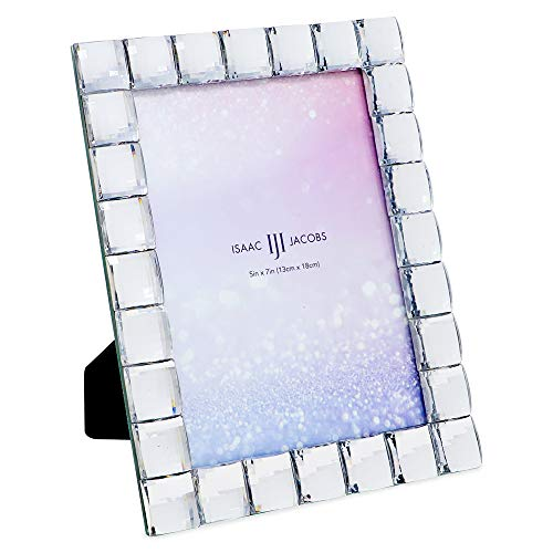 Isaac Jacobs Decorative Sparkling Clear Jewel Picture Frame, Photo Display & Home Décor (5x7, Clear)
