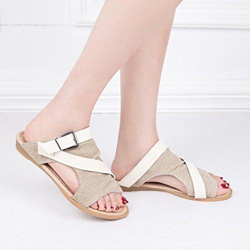 Wedge Tongs Semelles slide sandales Découpe Gonflable Compensées Sandale Sillonnent Boucle Beautyjourney Strappy Sandales Cher Beige Pas vwxCHq