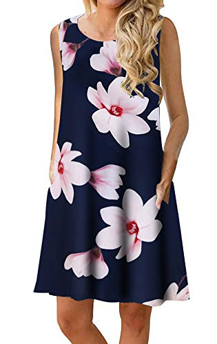 (Womens Beach Dress Summer Tshirt Sundress Floral Print Sleeveless Casual Cover up with)