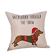 Happy Christmas Pillow Cases,Napoo Dog Cotton Linen Cushion Covers Decorative Throw Pillow Cover 18X18 Inches (M)