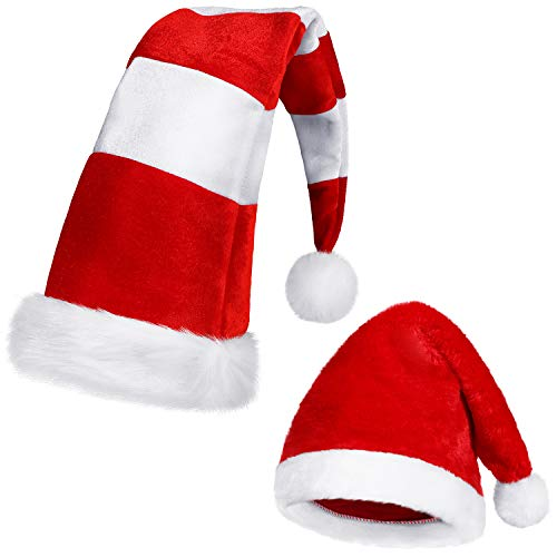 SATINIOR 2 Pieces Red and White Christmas Hat Long Striped Santa Hat Candy Holiday Theme Hats Plush Felt Christmas Hat for Christmas Party Favors (Christmas Decorate Hat)