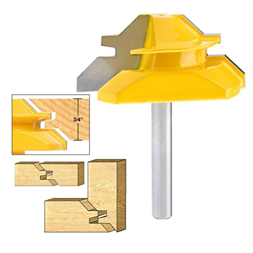 """QLOUNI Lock Miter 2"""" Diameter 1/4'' Carbon Steel Shank 45 Degree Joint Router Bits for 3/4 Thick Wood Cutter Tool"""