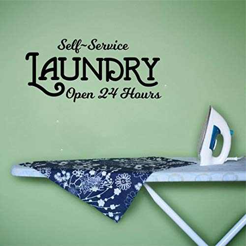 OLINVIA HOME Laundry Wall Decals- Laundry Self-Service Open 24 Hours Sign DIY Removable Wall Vinyl Decal Sticker Laundry Room Wall Art Laundry Room Decor Farmhouse Home Decor-Black, 17.7''Wx8.3''H