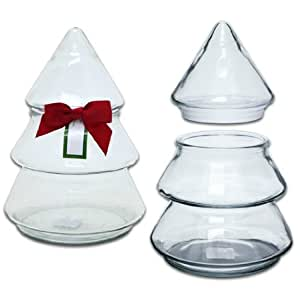 Amazon.com | Christmas Tree Glass Jar with Bow, by Anchor Hocking: Candy Dishes: Candy Dishes