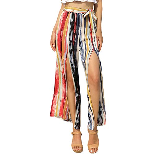 JOFOW Wide Leg Pants Womens Casual Long Vertical Striped Print Front Slit Split Tie Strappy Loose High Waist Swing Trousers (S,Muticolored) ()