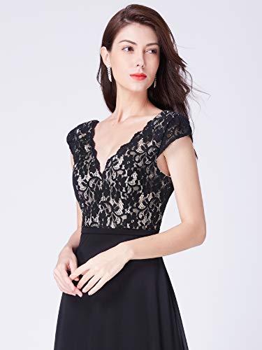 V Cuello Elegantes Mujeres Ever Fiesta Negro Maxi Vestido Vestidos pretty B 8633 Gasa Las Para De KMqMpafU4