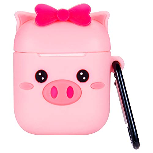 Sunnee Airpods 1&2 Case,Cute Cartoon Animal Character Soft Silicone Airpod 2 Cover, 3D Funny Kawaii Fun Cool Keychain Design Skin Piglet Cases Ring Strap for Girls Kids Teens Boys Air - Ties Pigs