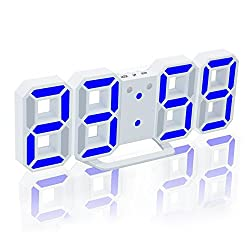 EAAGD Electronic LED Digital Alarm Clock [Upgrade Version], Clock Can Adjust The LED Brightness Automatically in Night (White/Blue)