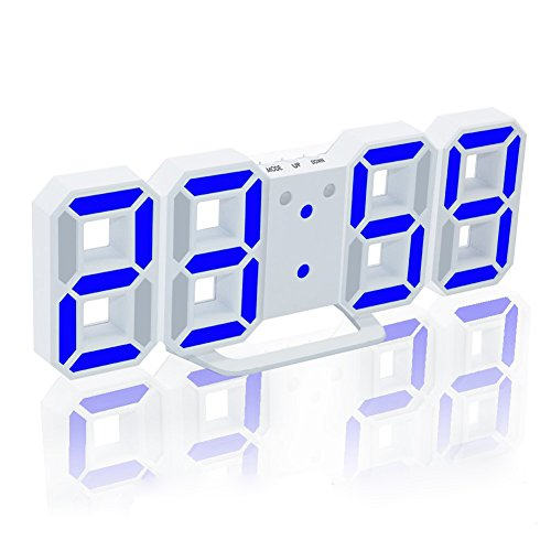 Hanging Desk Clock (EAAGD Electronic LED Digital Alarm Clock [Upgrade Version] , Clock Can Adjust the LED Brightness Automatically in Night (White/Blue))