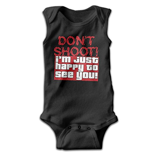 [BLUESPACE Don't Shoot Baby Girls Boys Climb Romper 18 Months Black] (Racer Girl Romper Costumes)