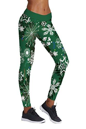 COCOLEGGINGS Ladies Christmas Snowflake Patterned Ankle Length Leggings (L/XL)