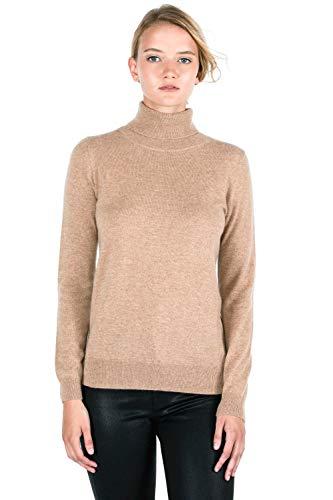 JENNIE LIU Women's 100% Pure Cashmere Long Sleeve Pullover Turtleneck Sweater (L, Camel)