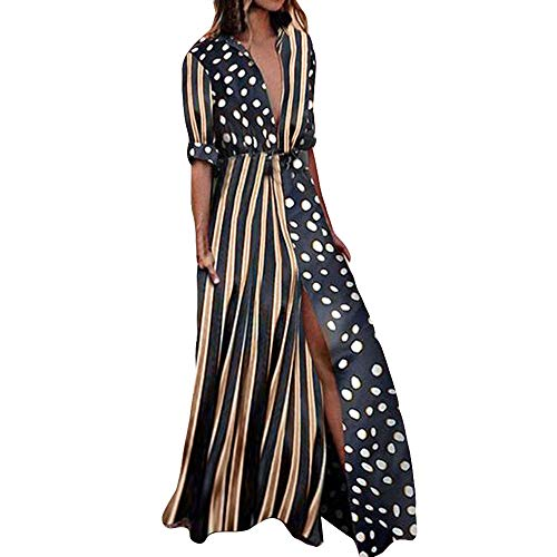 Black White Pencil Pinstripe - Morecome, Womens Boho Half Sleeve Wave Point Fashion Ladies Casual Evening Paty Long Dress