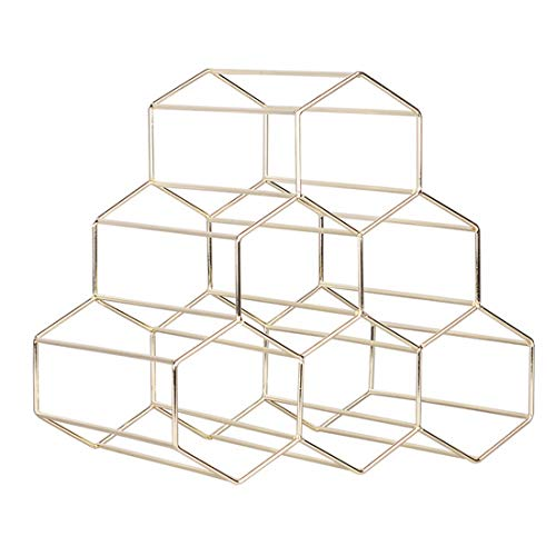 1PC 6 Bottles Metal Wine Rack Countertop Free-Stand Wine Storage Holder Space Saver, Shipped from The US (Gold, 8.3×8.3×10.6 Inch) (Standing Metal Wine Rack)