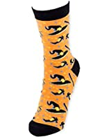 Halloween Witch Hat & Broom Cotton Polyester Women's Crew Socks - For Sizes 6-10