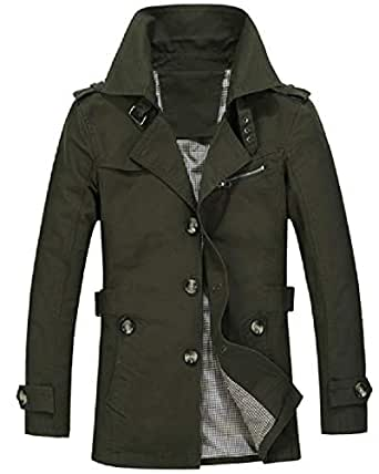 XINHEO Men's Large Size Open Work Notched Lapel Mid Long Overcoat Army Green 2XL