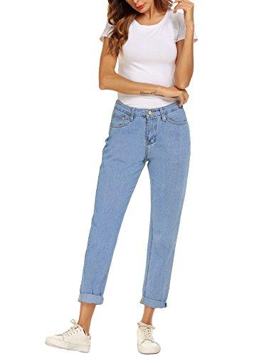 Blue Skinny Light Coupe Jean Haute Mom Romanstii Slim Denim Jeans Femme Jeans Droite Jeans Taille Boyfriend Basique WSxqAZIAp