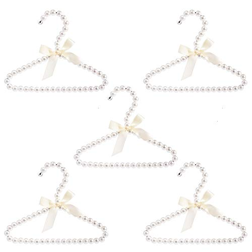 (Feeko Clothes Hangers,White Bowknot Faux Pearl Bow Clothes Hangers Hook for Children Kids Women Girl Baby 5 Packs )