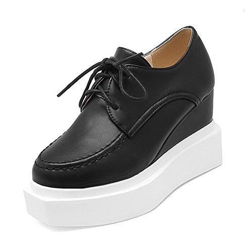 Lacets Solide Voguezone009 Pompes Bout Pu Femmes Chaussures Rond Fermé Hauts Noires Talons wg4qgt
