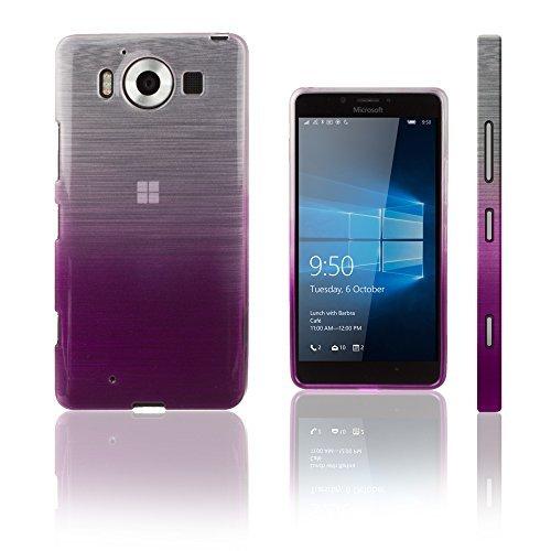 Xcessor Transition Color Flexible TPU Case for Microsoft Lumia 950. With Gradient Silk Thread Texture. Transparent / Purple (Cute Cases For Nokia Lumia)