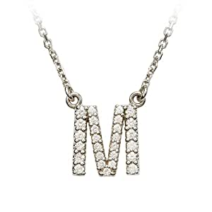 Diamond Initial Necklace in 14 Karat White Gold, Letter M