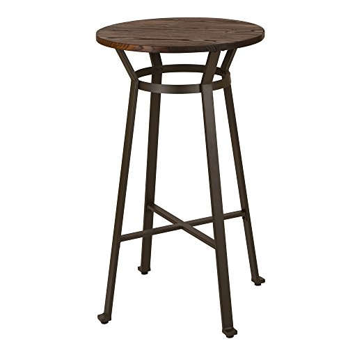 Glitzhome Rustic Steel Bar Table Round Wood Top Dining Room Pub Table ()