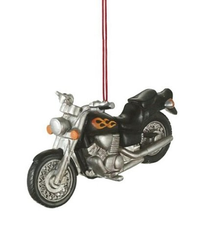 Christmas Motorcycle - Black Motorcycle with Flames Resin Hanging Christmas Ornament