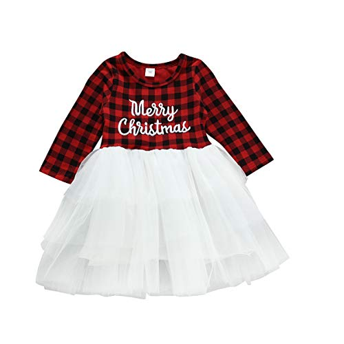 Infant Baby Girls Christmas Dress Merry Christmas Red Plaid Tulle Lace Tutu Princess Dresses Xmas Outfit (18-24 Months, Red#White) (Girl Christmas Merry)