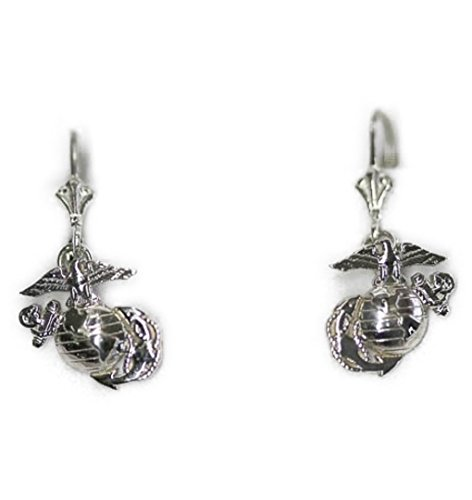 Continuum Sterling Silver 1/2 by 1/2 Inch USMC Earrings on Lever Back Hooks Marina Jewelry Earrings